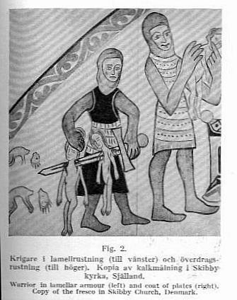 Воин в пластинчатом доспехе (слева) и в бригантине (coat of plates) (справа). Копия росписи церкви в Скиббю на острове Зеландия Дания.
