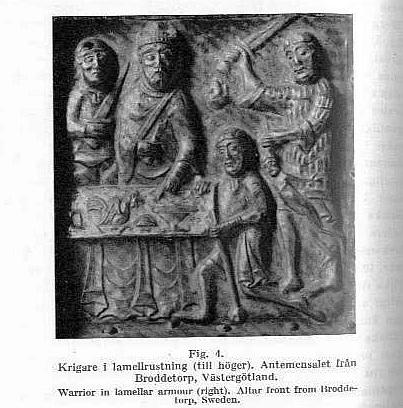 Рис. 4. Воин в ламелярном доспехе. Алтарь из Бродеторпа (Швеция)